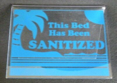 "This Bed Has Been Sanitized Acrylic Tent Sign 3.5x4.5"" Blue"
