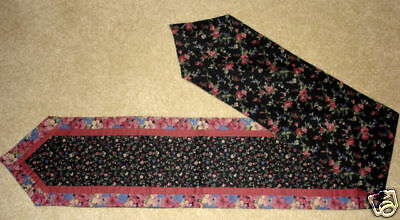 TABLE RUNNER~BLACK/ PINK FLORAL~COTTON FABRIC~6 FT long~REVERSIBLE