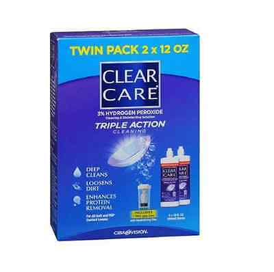 DAMAGED PACKAGING Twin Pack Clear Care 3% Hydrogen Peroxide Lens Cleaner w/ Case