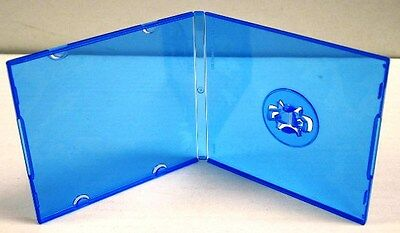 200 New Mini Blue CD DVD Slim Poly Case w/Sleeve,Patented M-Lock Hub, SF16SM-BLU