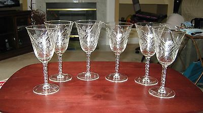 """Tiffin-Franciscan?? 6 (Six) Long Ball Stem Frosted Floral Embossed 7"""" Tall Water"""