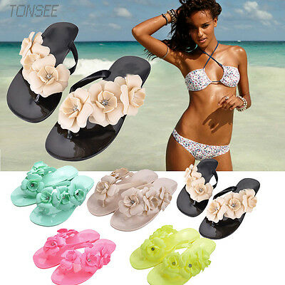 Summer Women's Fashion Bohemia Sandals Shoes Flat Heel Flip Flops Beach Slippers