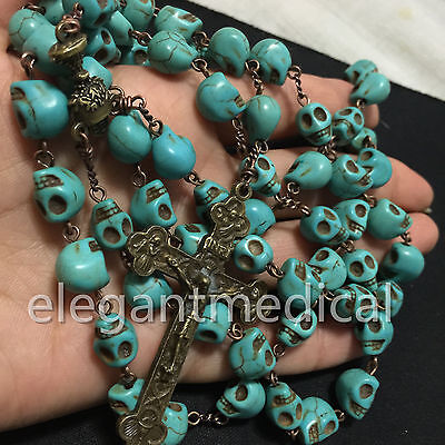 Catholic Vintage XL 10MM howlite skull Bead Rosary beads Necklace Cross crucifix