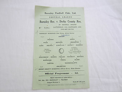 1957-58 CENTRAL LEAGUE RESERVES BARNSLEY v DERBY COUNTY
