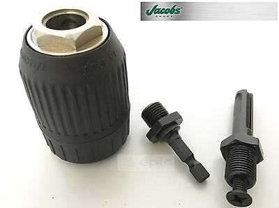 "JACOBS 13mm (1/2"") Keyless Chuck Nylon Outer With 1/4"" HEX & SDS+ Drill Adapter"