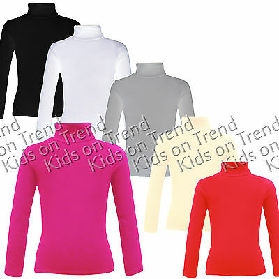 Girls Polo Neck Jumper Ribbed Roll Neck Great for Layering Kids 2-13 Y Last Few