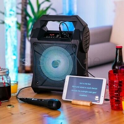 Portable Bluetooth Karaoke Machine Party Lights Mics LED Light Speaker Songs MP3