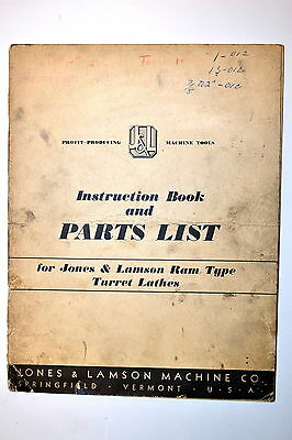 Jones & Lamson Instruction Book & Parts List: Ram Type Turret Lathes #Rr695