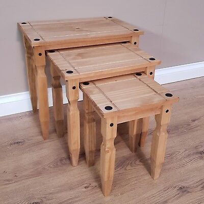 Corona Piccolo Nest of Tables Mexican Solid Pine by Mercers Furniture®