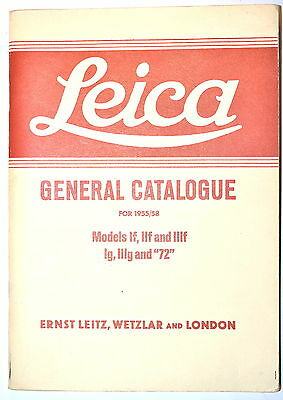 LEICA Camera GENERAL CATALOG FOR 1955/58 by Leitz Wetzler & London reprint RB208