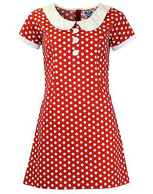 940cd1c7e8 NEW RETRO SIXTIES PETER PAN COLLAR 60s MINI MOD DRESS RED POLKA DOT MC209  D192-