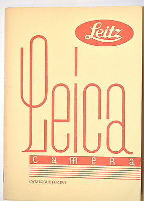 LEICA CAMERA & ACCESSORIES CATALOG FOR 1931 by Leitz Wetzler & London #RB209