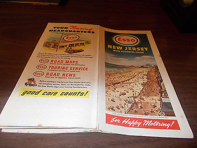 1947 Esso New Jersey Vintage Road Map /Atlantic City on Cover