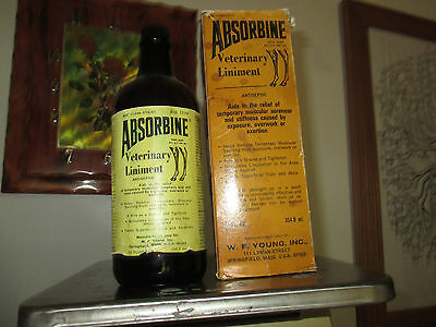 VINTAGE 1973 ABSORBINE VETERINARY LINAMENT BROWN BOTTLE 12 oz sz & ORIGINAL Box