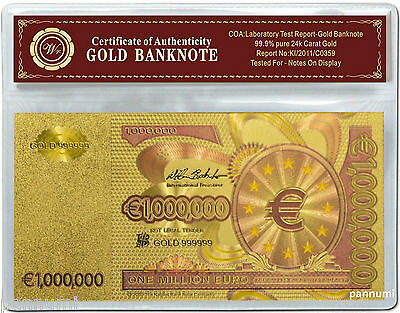 Colourised 1 MILLION EURO 24k Gold Plated Banknote With *COA* (n15c)