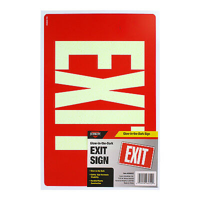 "Cosco Exit Sign ‑ Glow in the Dark, 8"" x 12"", 1 Each"