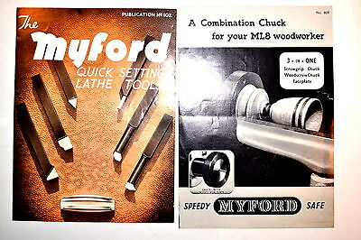 MYFORD QUICK SETTING LATHE TOOLS 1967 & COMBINATION CHUCK lathe BROCHURES #RR851