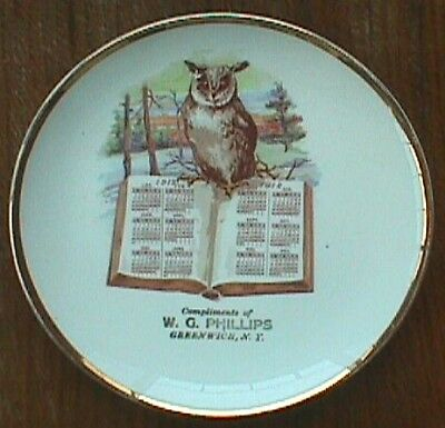 1912 calendar plate GREENWICH NEW YORK Compliments of  W. G. PHILLIPS w/pic OWL