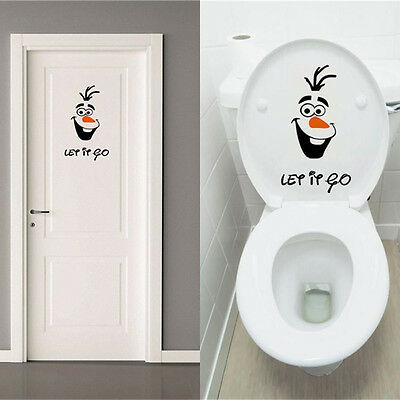 Olaf Frozen Disney style Let it Go Toilet Seat Wall Sticker Vinyl Decal Funny