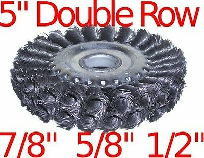 """5"""" Double Row Knot Wire Wheel Brush fits 7/8"""" 5/8"""" 1/2"""""""