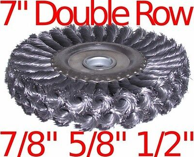 """7"""" Double Row Knot Wire Wheel Brush fits 7/8"""" 5/8"""" 1/2"""""""