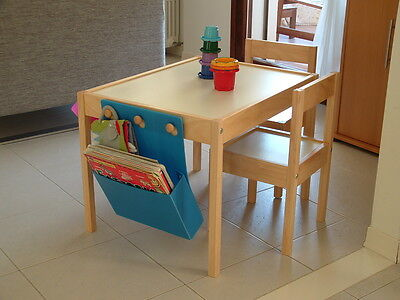 IKEA Children's Table With 2 Chairs in Solid Beach With White Top