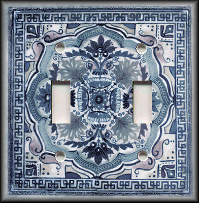 Metal Light Switch Plate Cover - Italian Tile Pattern Blue Grey Home Decor