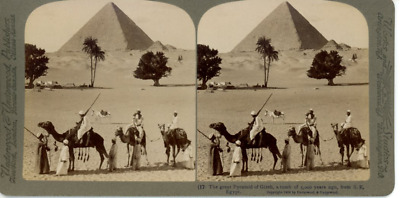 The great Pyramid of Gizeh, Egypt Keystone, vintage stereo print, silver print