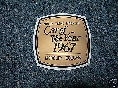 1967 Mercury Cougar Car Of The Year Decal Sticker