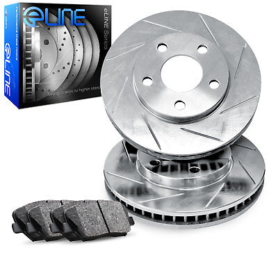 For 1979 Mercedes-Benz 300SD, 450SL Front Slotted Brake Rotors+Semi-Met Pads
