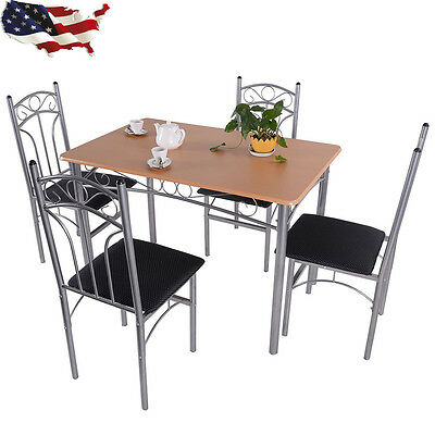 Wood And Metal Kitchen Dining Set Table and 4 Chairs Modern Home Furniture 5PCS