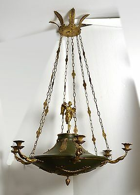 Large Impressive 1899 Antique gilt brass/bronze Neoclassical Empire Chandelier