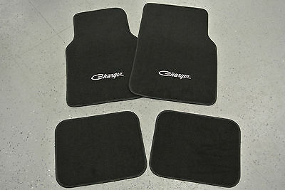 1971-74 Dodge Charger 4 Piece Floor Mats Set SILVER Embroidery