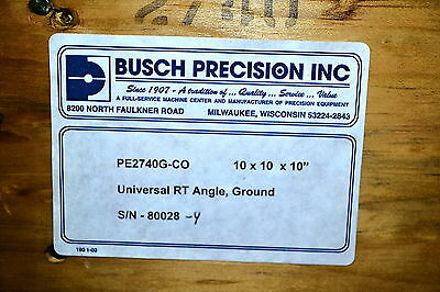 "NOS Busch Precision USA 10""X10""X10"" UNIVERSAL RIGHT ANGLE PLATE #2740 LIST $1370"