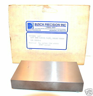 "NOS Busch Precision USA Toolmakers 3""X5"" CAST IRON SURFACE PLATE #PE100G $370"