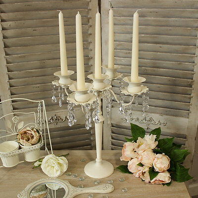 Cream 5 Arm Candelabra Droppers French home lighting candles dining room wedding