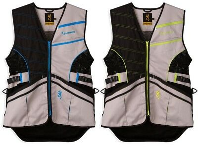 NWT Men's Browning Ace Shooting Vest Gray Lightweight Blue Lime Green Size S-2XL