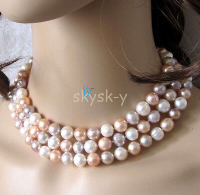 """54/"""" 8-9mm White Pink Lavender Freshwater Pearl Necklace Strands Off Round"""