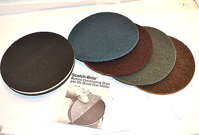 3M Scotch Brite Surface Conditioning Disc Pack 4 Discs & Pad Holder 5/8 11 WL652