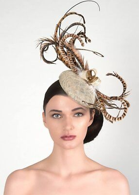Woodland Browns Ivory Light Gold Feathered Button Fascinator Headpiece Hat MN146