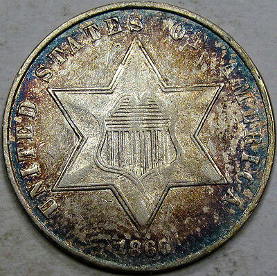 1860 Three Cent Silver Piece Choice AU+... Flashy with Nice Rim Toning, Pretty!!