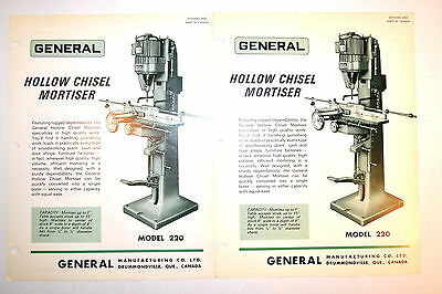 2 GENERAL HOLLOW CHISEL MORTISER MODEL 220 ADVERTISEMENTS #RR613 specifications