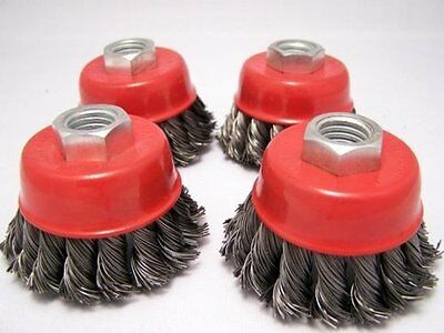 """(4-pack) 2.5"""" Knot Cup Brush M10x1.5 angle grinder wire m10"""