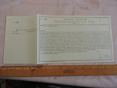 1880s Stock Certificate: Brooklyn Elevated Rail Road New York City NYC SUBWAY