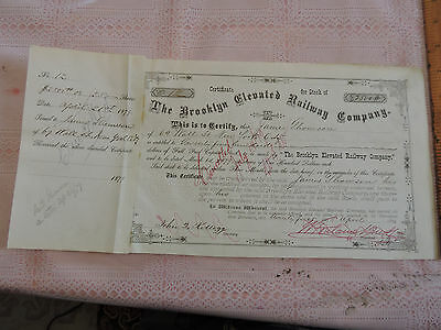 1879 Stock Certificate: Brooklyn  Elevated Railway Co NYC Subway New York City