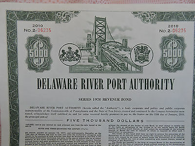 RARE Stock Certificate Delaware River Port Authority $5,000 Bond New Jersey PA