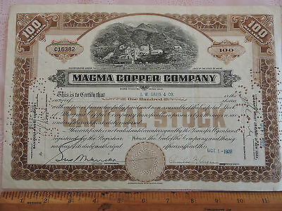 RARE Stock Certificate MAGMA Copper Company MAINE 1928 MINING 100 shares