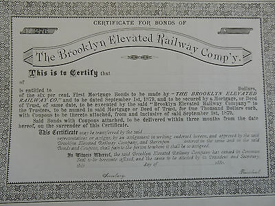 RARE 1880 Brooklyn Elevated Railway Company Stock Bond Certificate NYC Subway