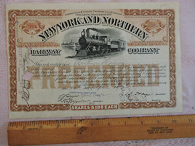 RARE 1880 New York and Northern Stock Certificate NYNHRR Central NYCRR Railway