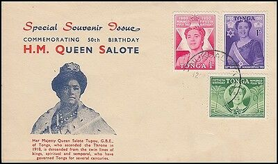 TONGA 1950 QUEEN SALOTE's 50TH BIRTHDAY ILLUSTRATED (FDC?) (ID:183/D40525)